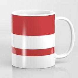 Mixed Horizontal Stripes - White and Firebrick Red Coffee Mug