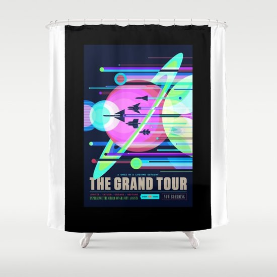 grand tour nasa space travel poster alternative shower curtain
