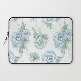 Succulents Pastel Mint Green Turquoise Teal Sky Blue Pattern Laptop Sleeve