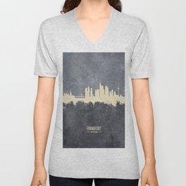 Frankfurt Germany Skyline Unisex V-Neck