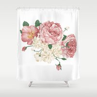 wwe Shower Curtains featuring Watercolor rose by eARTh