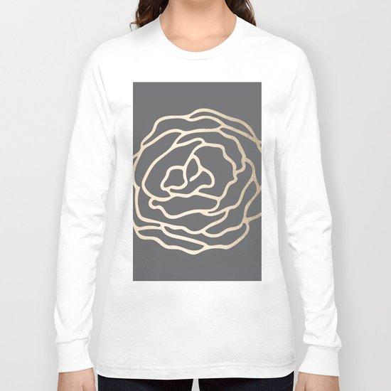 Rose White Gold Sands on Storm Gray Long Sleeve T-shirt
