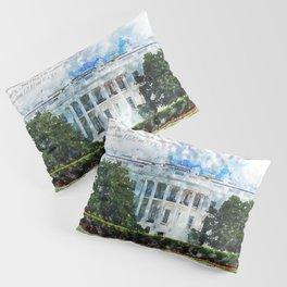 White House, Washington DC, Watercolor Pillow Sham