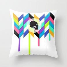 geo skull Throw Pillow