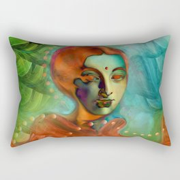 """Exotic woman in green and orange tropical jungle"" Rectangular Pillow"