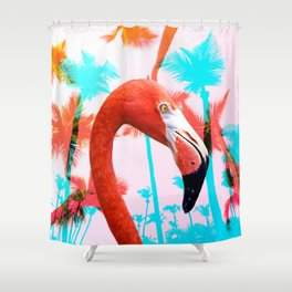 Bright Pink Tropical Flamingo Shower Curtain