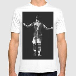 Ronaldo on Black White Color T-shirt