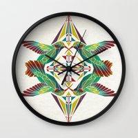 hummingbird Wall Clocks featuring hummingbird  by Manoou