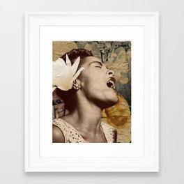 Billie Holiday Vintage Mixed Media Art Collage Framed Art Print