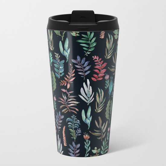 water color leaves color leaves Metal Travel Mug