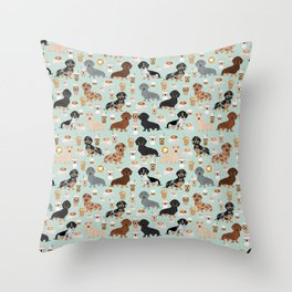 Dachshund coffee lover must have pet gifts dachsie doxie dog weener dog Throw Pillow