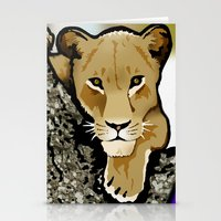 lesbian Stationery Cards featuring The Lesbian & the Lioness by BinaryGod.com