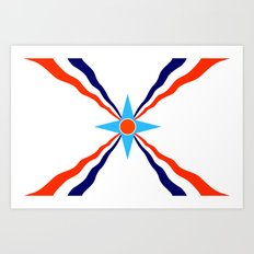 Assyrian people  ethnic flag Art Print