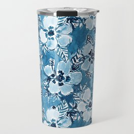 DANK DUDETTE Indigo Hibiscus Watercolor Travel Mug