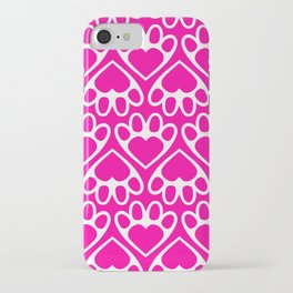 Paw Prints on my Heart - in Magenta iPhone Case