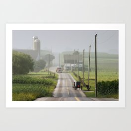 Amish Buggy confronts the Modern World Art Print