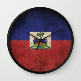 Old and Worn Distressed Vintage Flag of Haiti Wall Clock