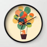 hot air balloon Wall Clocks featuring Whimsical Hot Air Balloon by Picomodi