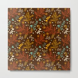 Elegant fall orange yellow teal brown floral polka dots Metal Print