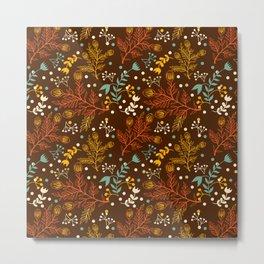 Elegant fall orange yellow teal brown floral polka dots Metal Print