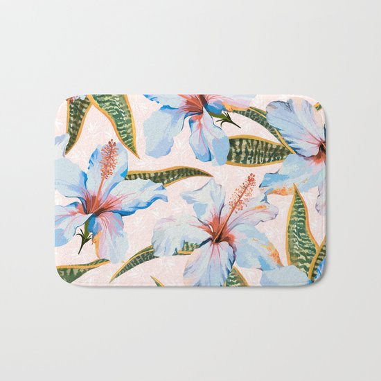 Tropical Pattern - Flowers and Plants Bath Mat