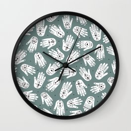 Indian summer eye bohemian hamsa hand of fatima pattern mint teal gray Wall Clock