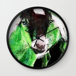 Goat Pop Art - Green - Sharon Cummings Wall Clock
