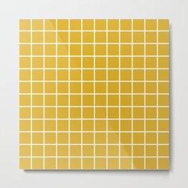 Minimalism Window Pane Grid, Mustard Yellow Metal Print