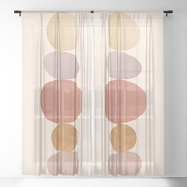 Abstraction_ROCK_LINE_ART_Minimalism_001 Sheer Curtain