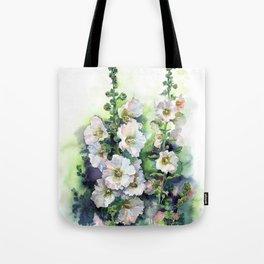 Watercolor Hollyhocks white flowers Tote Bag