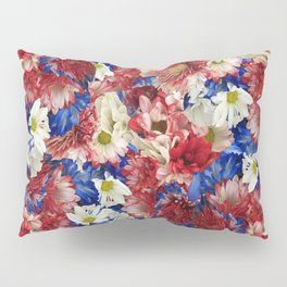 Red White Blue Flora Pillow Sham