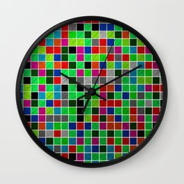 Metallic Colour Grid Wall Clock
