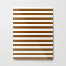 Narrow Horizontal Stripes - White and Chocolate Brown Metal Print