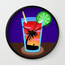 Sunset Cocktail Wall Clock
