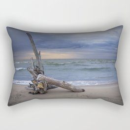Sunrise on the Beach with Driftwood at Oscoda Michigan Rectangular Pillow