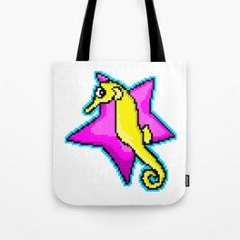 8-Bit Pixel Art Seahorse and Starfish Tote Bag