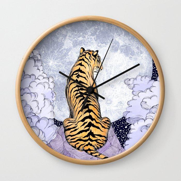 Tiger Moon   Colour Version Wall Clock