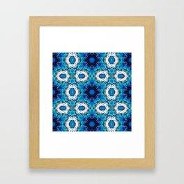 Ripples (Blue, White, Black & Gold Acrylic - 60° Kaleidoscope Pattern Small) Framed Art Print