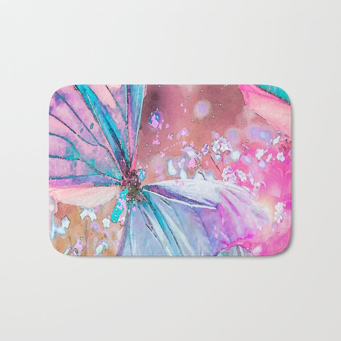 Turquoise butterflies on a pink background - lovely summer mood Bath Mat
