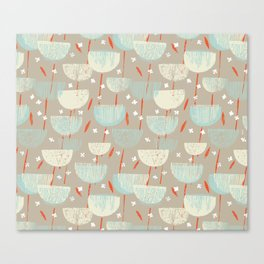 Botanical Block Print M+M Latte by Friztin Canvas Print