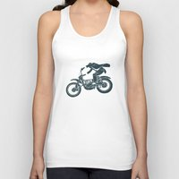 grease Tank Tops featuring jump by The Junkers