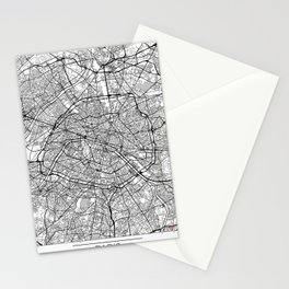 Paris Map White Stationery Cards