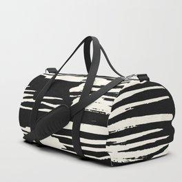 Modern Tribal Stripe Ivory and Black Duffle Bag