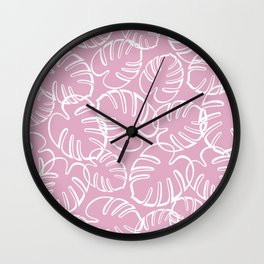 Tropical Leaves Pattern - White on Pink Wall Clock