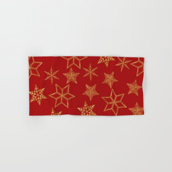 Snowflakes Red And Gold Hand & Bath Towel