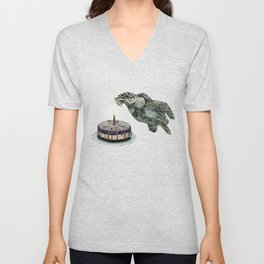 Turtle Birthday Unisex V-Neck