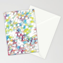 Colourful square box node art Stationery Cards
