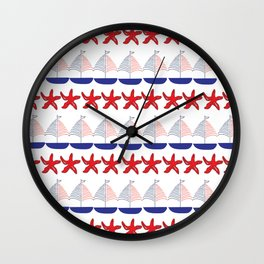 Nautical Pattern Small Sailboats and Starfishes Wall Clock