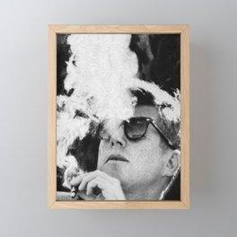JFK Cigar and Sunglasses Cool President Photo Photo paper poster Framed Mini Art Print