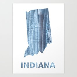 Indiana map outline Light steel blue nebulous watercolor Art Print